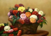 Картина с изображението на цветя в кощница